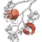 Apple Tree Branches on Red Inks by Whitney Cole