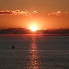Sun Sinking into the Bay, Melbourne, Australia. by kaysharp