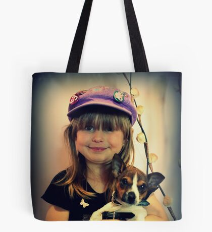 Portrait ~ Girl And Dog ~ Tote Bag