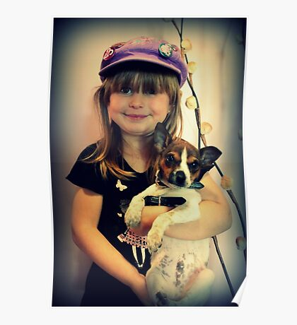Portrait ~ Girl And Dog ~ Poster
