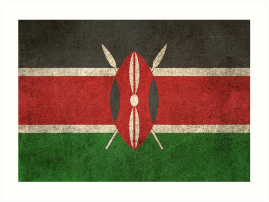 Old and Worn Distressed Vintage Flag of Kenya by jeff bartels