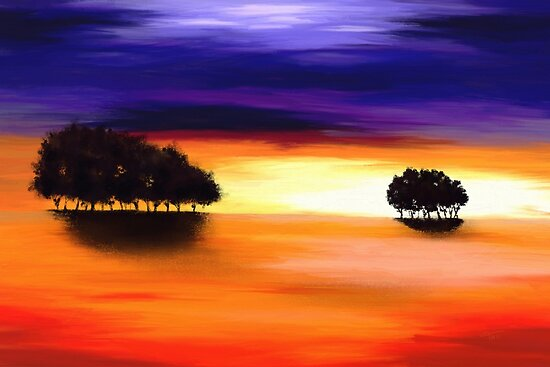 Landscape in Purple and Orange by Tanja Udelhofen