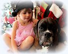 Girl And Dog Portrait - Boxer Dogs Series by Evita