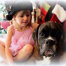 Girl And Dog Portrait - Boxer Dogs Series von Evita