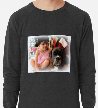 Girl And Dog Portrait - Boxer Dogs Series Leichtes Sweatshirt