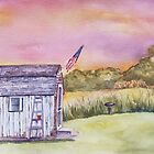 Sunset Shed on the Marsh by Nancy Roche