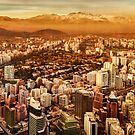 Santiago de Chile Aerial View from San Cristobal Hill by DFLC Prints
