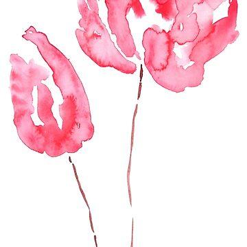 dos tulipanes rojos acuarela de ColorandColor