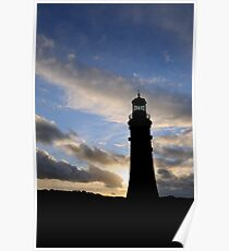 Silhouette of Smeaton's Tower, Plymouth, UK Poster