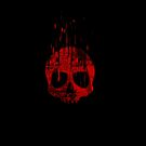 Red Glitchy Skull Turning to Pixels by ChessJess