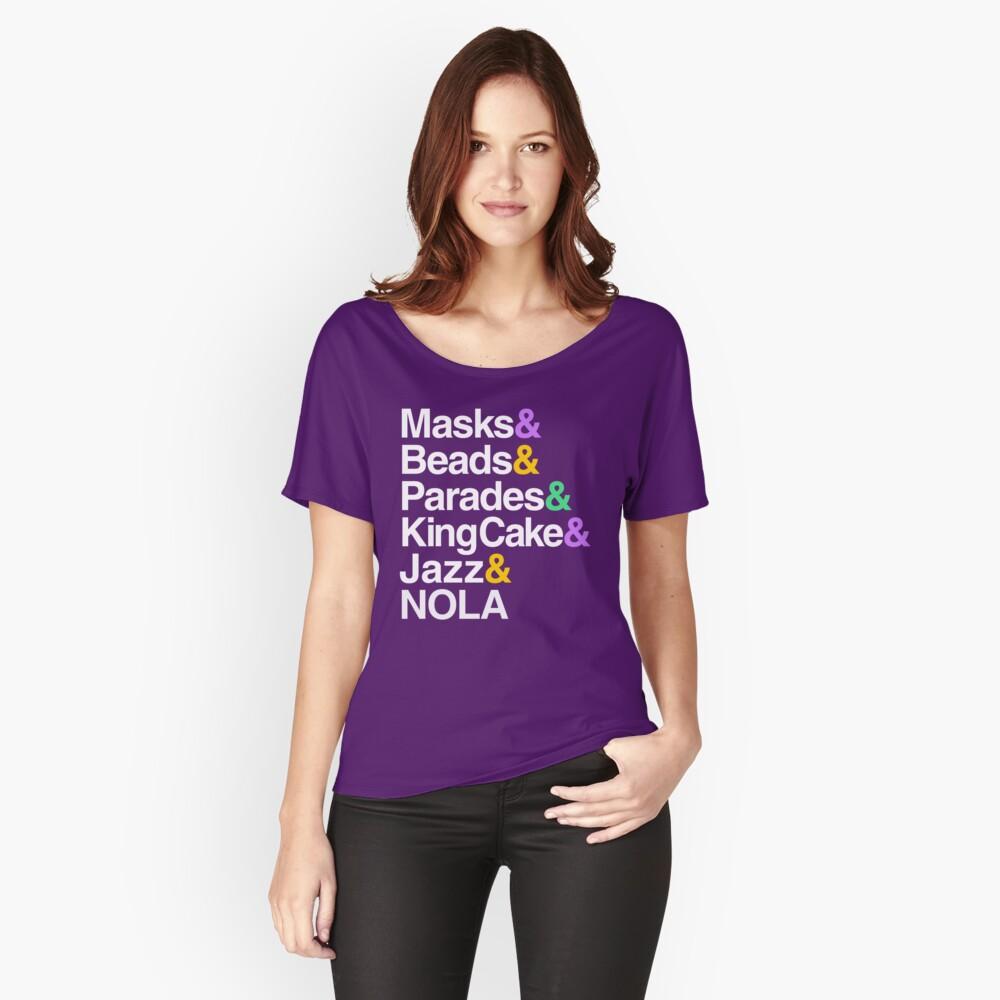 Marti Gras Helvetica (Masken, Perlen, Paraden, Königskuchen, NOLA) Loose Fit T-Shirt