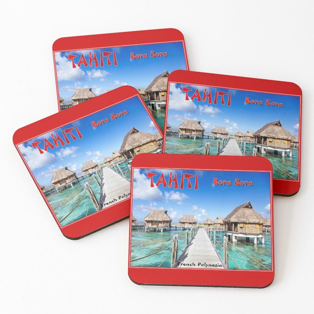 TAHITI : Bora Bora Travel to French Polynesia Print Coasters (Set of 4)