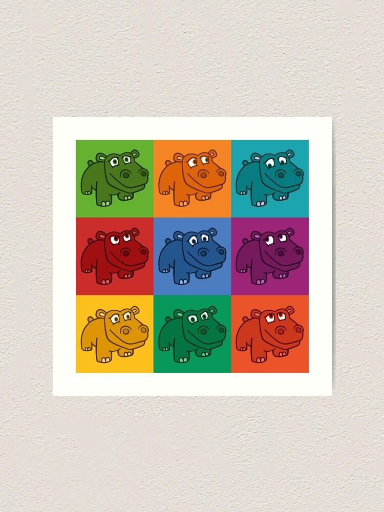 Alternate view of Pop Hippos Art Print