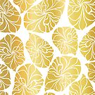 Abstract Golden Leaves by Sandra Hutter