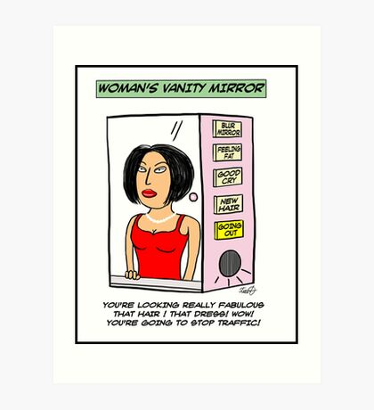 Woman's Vanity Mirror Cartoon Art Print