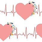 EKG seamless pattern. Pink hearts with flowers on electrocardiogram. Original health related background by Sandra Hutter