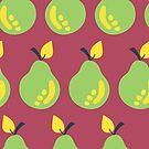 Retro Green Pears by Sandra Hutter