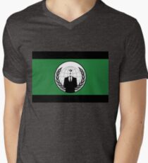 Anonymous Flag by Chillee Wilson Men's V-Neck T-Shirt