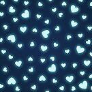 Neon Blue Hearts by PZAndrews