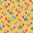 Yellow Toucan Birds by Sandra Hutter