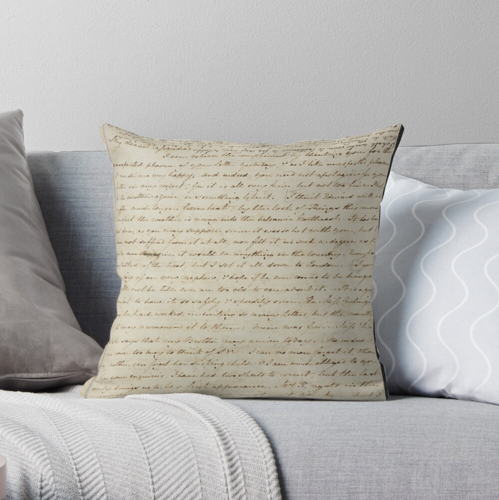 Jane Austen Manuscript Throw Pillow