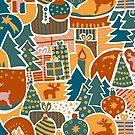 Modern Christmas Pattern by Sandra Hutter