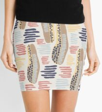 Hand drawn abstract shapes. Spotted and textured figures. Unique design Mini Skirt