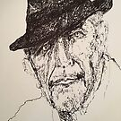 Pen and ink drawing of lenard Cohen. by Jo Fedora