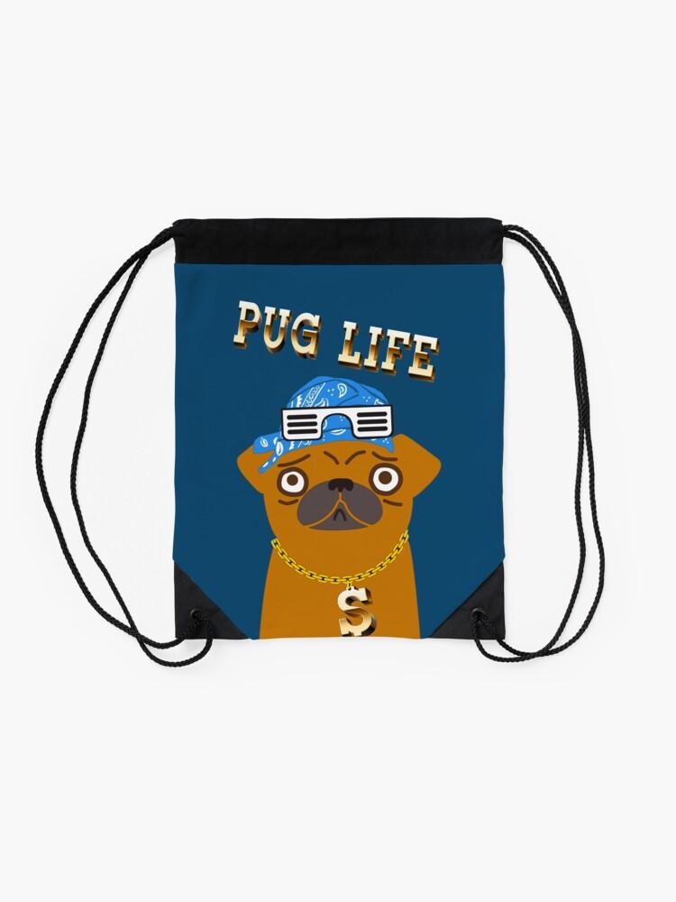 Vista alternativa de Mochila saco ¡El perro Gangsta de Pug Life ama los dólares y las perras con la espalda!