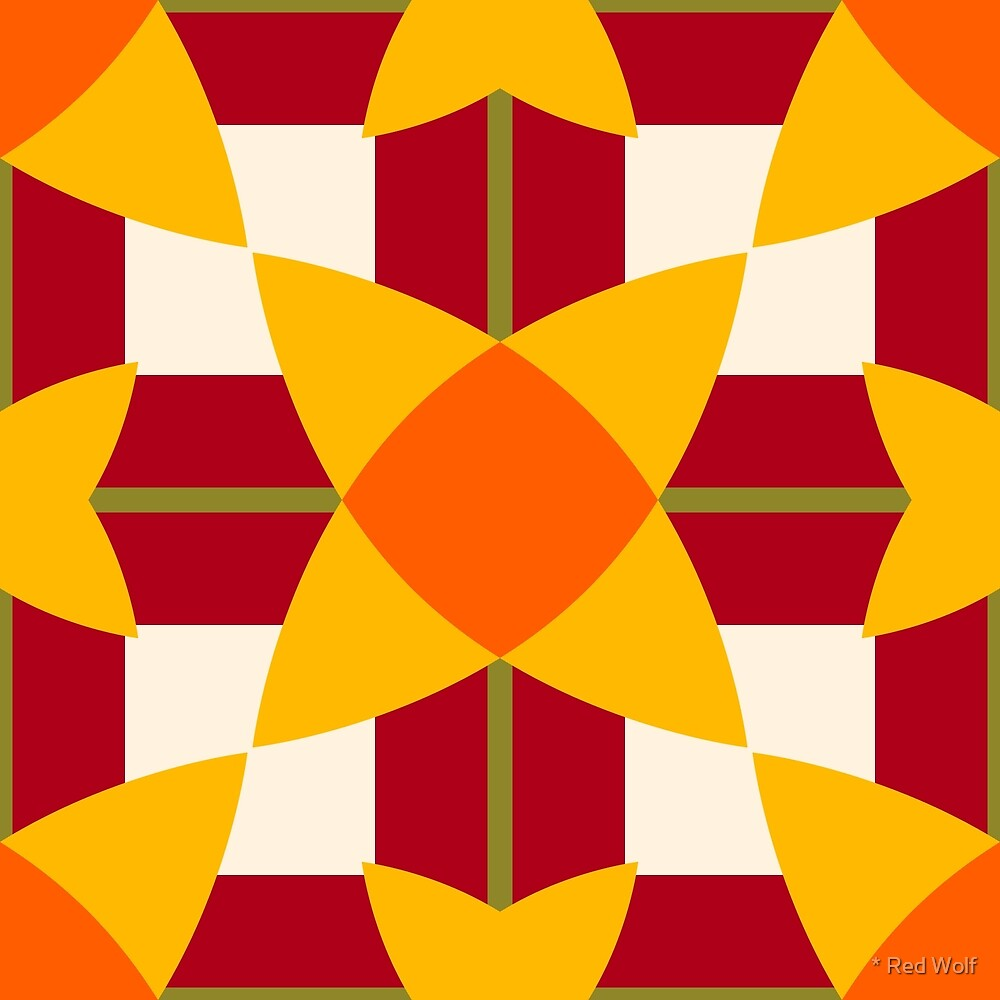 Geometric Pattern: Flower Weave: Sunset by * Red Wolf