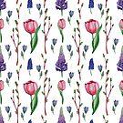 Aquarellmuster mit Frühlingsblumen von Tasha-zen