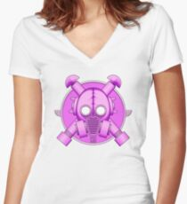 Art Deco Lilac Gasmask Women's Fitted V-Neck T-Shirt