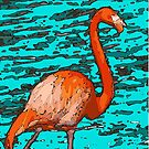 Florida Pink Flamingo In The Bay by GypseaDesigns