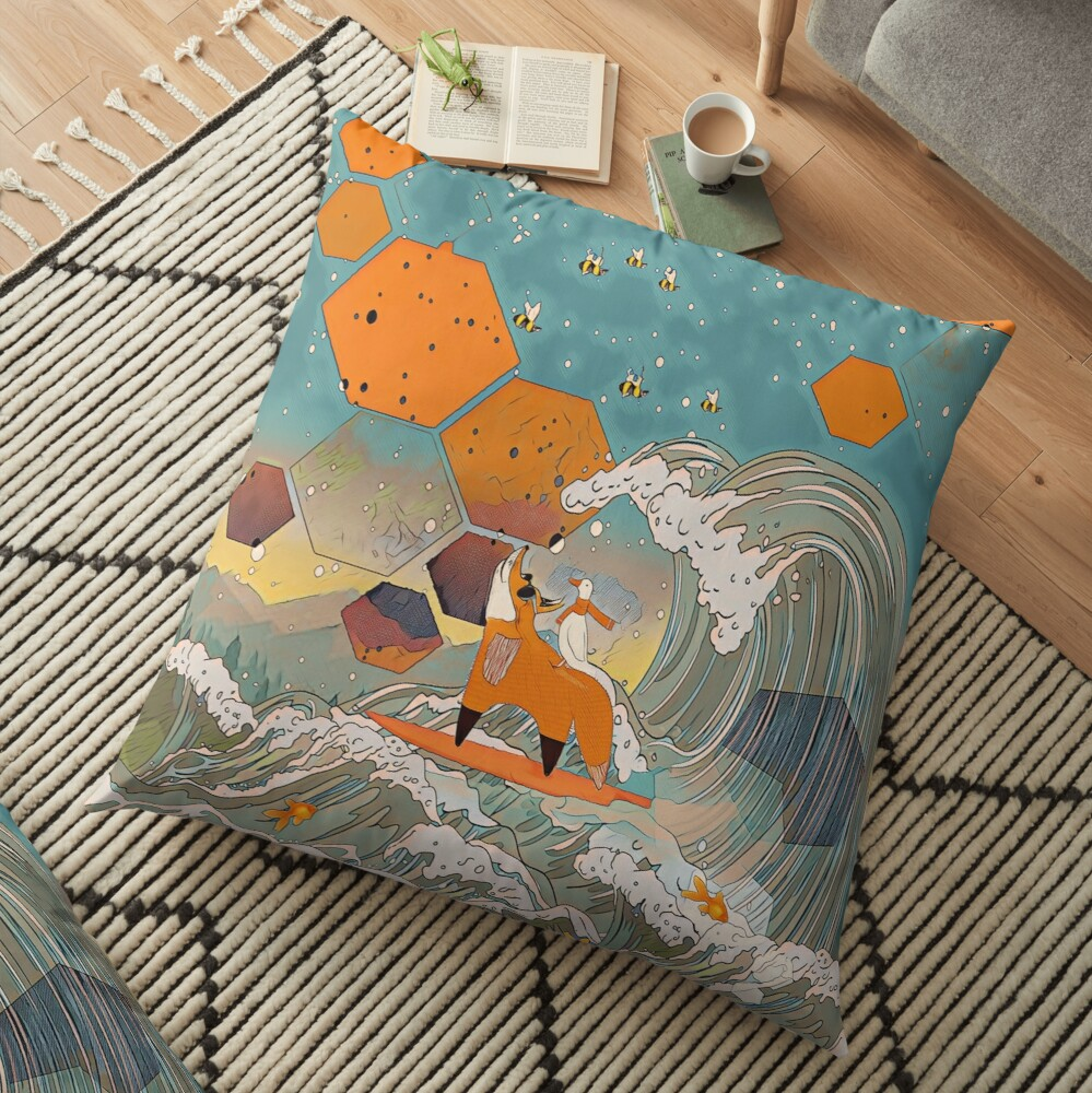 The fox and the duck Floor Pillow