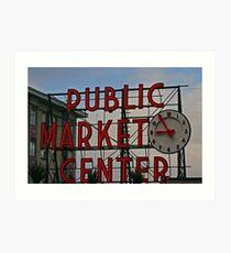 Pike Place Market entrance sign Art Print