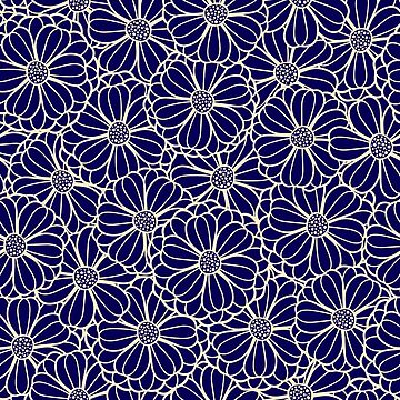 Navy blue and yellow flowers by Eng-Sun