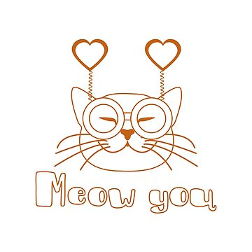 Valentine's Day Cat in carnival glasses with heart by aquamarine-p
