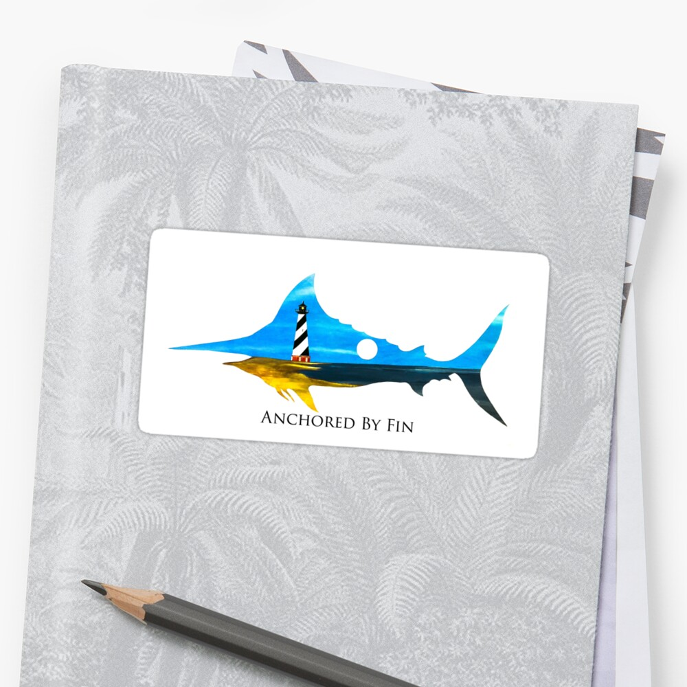 Anchored By Fin Blue Marlin  Sticker Front