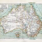 Antique Map of Australia Swiss/German circa 1890 by sunrisecoast