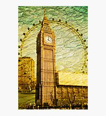 Grungy Big Ben: London UK Photographic Print