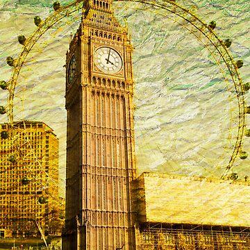 Grungy Big Ben: London UK by DonDavisUK