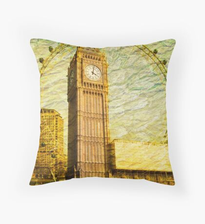 Grungy Big Ben: London UK Throw Pillow
