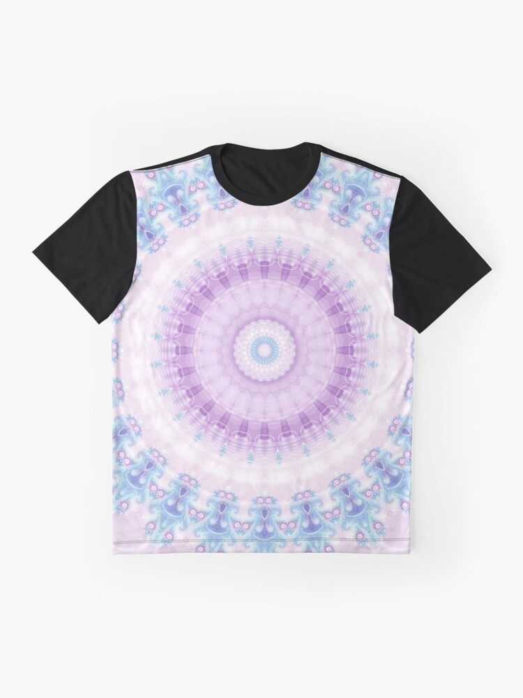 Alternate view of Pastel Purple and Blue Mandala Graphic T-Shirt