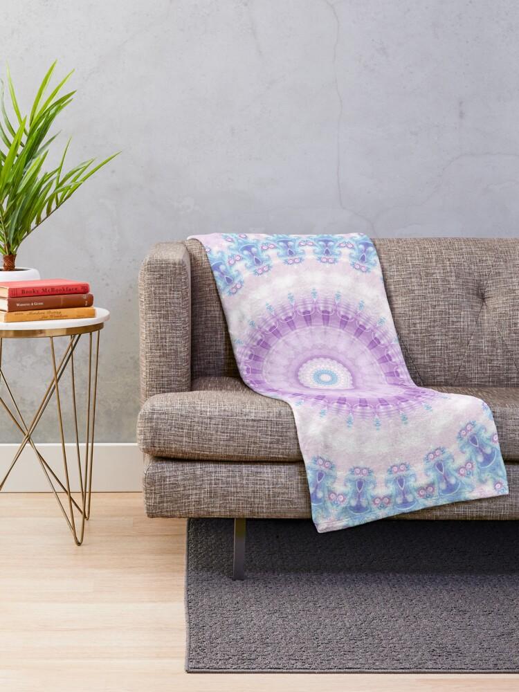 Alternate view of Pastel Purple and Blue Mandala Throw Blanket