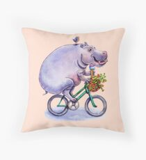 hippo on bicycle with icecream Throw Pillow