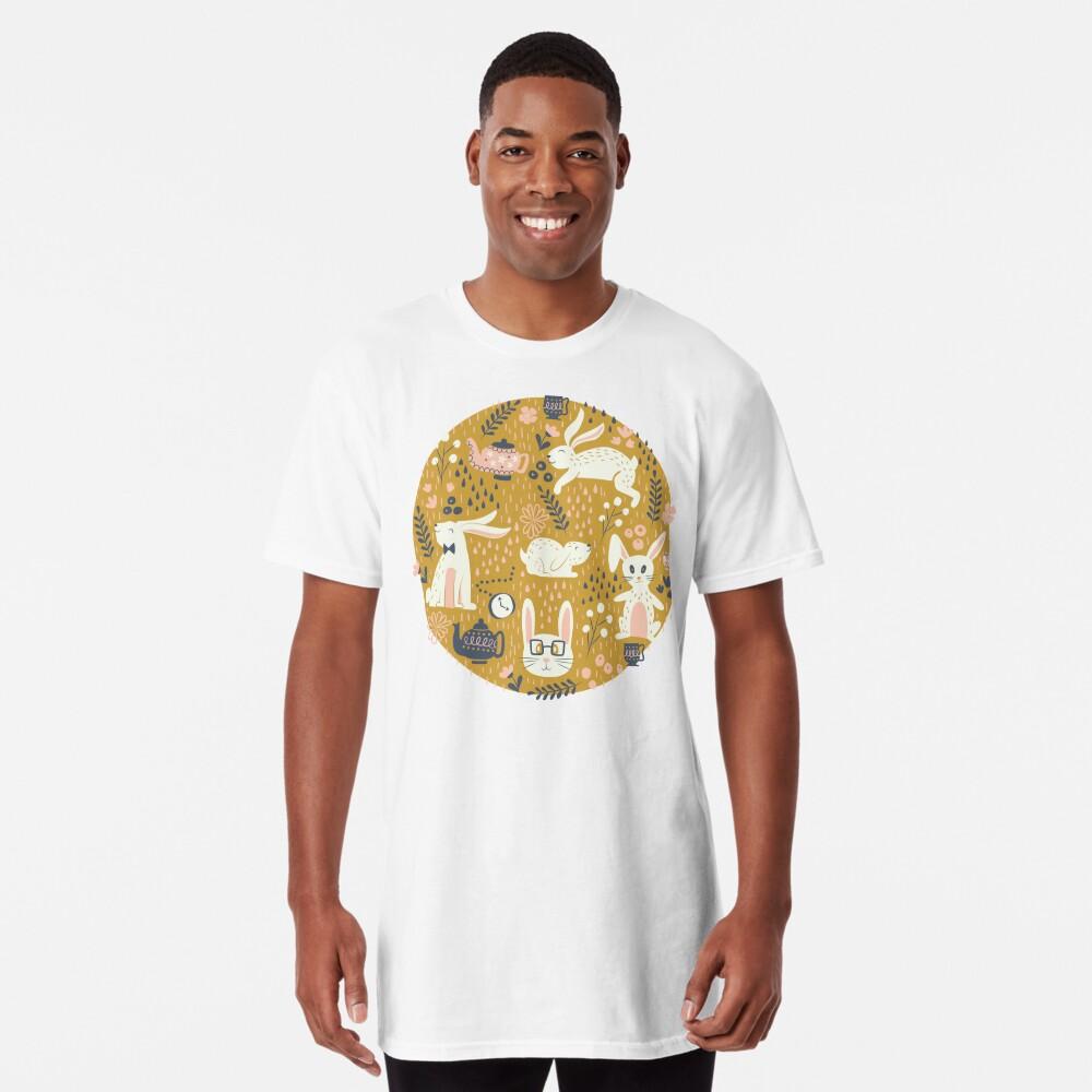 Bunnies + Teapots in Gold Long T-Shirt