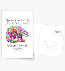 """""""Du wirst trotzdem liebenswert sein"""" Rainbow Pangolin Postkarten"""