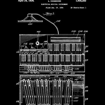 1934 Hammond Organ, 1934-Retro-Patent-keyboards-Music-Rock, Blues, Jazz, de carlosafmarques