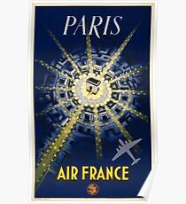 Paris Air France Vintage Travel Poster Restored Poster