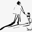 Salvador Dali As a Child With His Father, Riding Bike, 1971 Artwork Reproduction, Design, Prints, Tshirts, Posters, Jerseys, Men, Women, Youth by Art-O-Rama ®